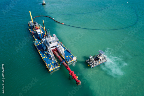 Fotografia  Aerial shot of an industrial barge Miami FL Biscayne Bay
