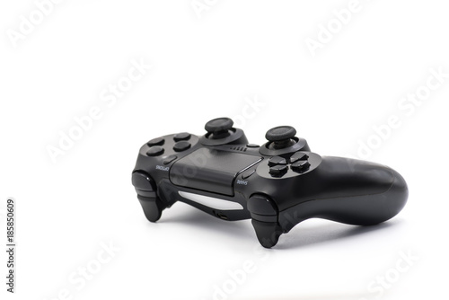 black video game controller isolated on white Tableau sur Toile