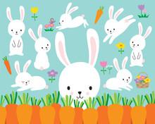 Cute White Easter Bunny Rabbit...