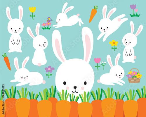 Naklejka premium Ilustracja wektorowa ładny królik wielkanocny biały i kwiaty.