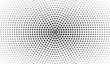 Abstract Radial Gradient In Halftone Style. Retro And Vintage. Hipster Pattern Of Dots For Your Projects. Black Dots On A White Background. Vector.