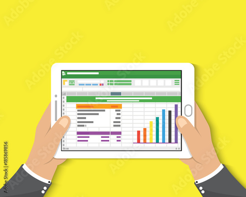 Hand Holding Tablet Businessman Read Spreadsheet Financial