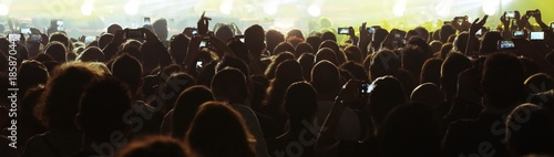 Canvas Print many people while using smart phone at live concert