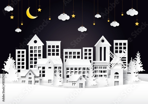 Foto op Canvas Lichtblauw Urban countryside cityscape on night winter landscape scene background.For merry christmas and happy new year paper art style.Vector illustration.