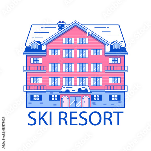 Abstract spa and ski resort emblem in line art design Wallpaper Mural