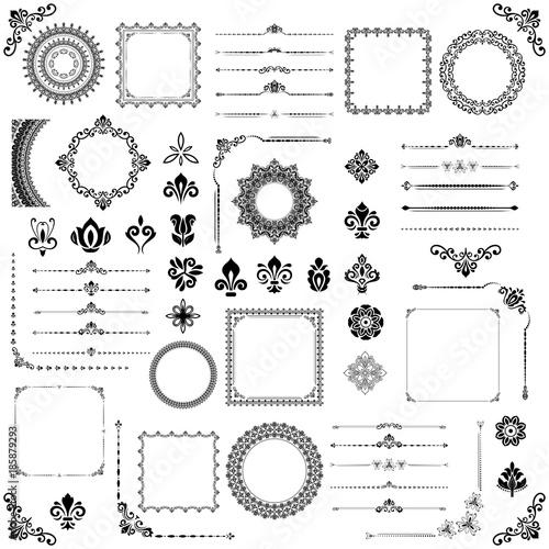 Vintage set of vector horizontal, square and round elements. Black elements for decoration design, frames, cards, menus, backgrounds and monograms. Classic patterns. Set of vintage patterns
