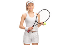 Female Tennis Player With A Ba...
