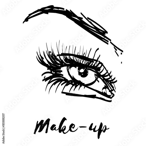 Beauty Lashes And Brows Female Eye Illustration Make Up