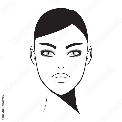 Brow bar lash room  Hand-drawn woman with fresh makeup look and