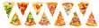 canvas print picture - set of a slice of delicious fresh Italian pizza isolated on a white background