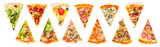 set of a slice of delicious fresh Italian pizza isolated on a white background - 185891857