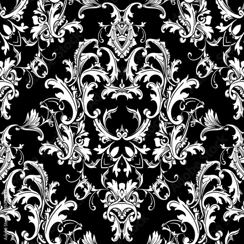 Baroque Black White Seamless Pattern Luxury Floral Background Wallpaper With Damask Flowers Scroll Leaves And Antique Baroque Ornaments In Victorian Style Elegance Design For Fabric Prints Wall Buy This Stock Vector