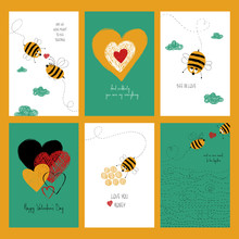 Set Of Love Cards With Cute Bees.