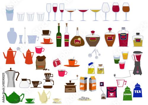 Valokuva キッチンのアイコン素材。カクテルセット。飲み物の素材。