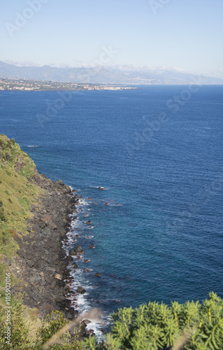 partial view of the Ionian coast near Acireale in Sicily Canvas Print