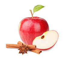 Fresh Red Apple With Leaves An...