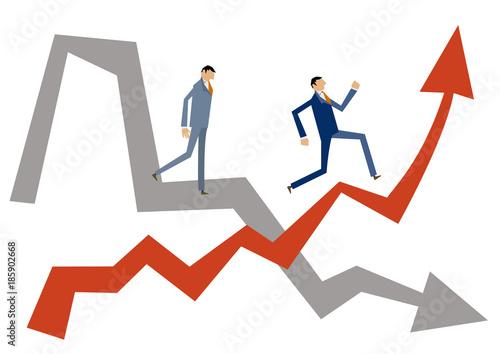 Fotografia 矢印とビジネスマンのクリップアート。上昇するビジネスイメージ。