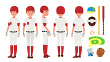 Classic Baseball Player Vector. Classic Uniform. Different Action Poses. Flat Cartoon Illustration