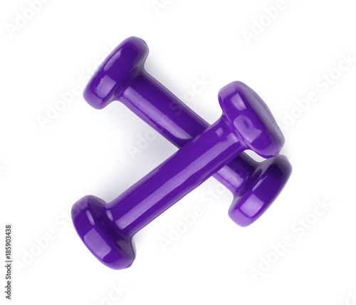 Two purple dumbbells isolated on white background. Top view Obraz na płótnie