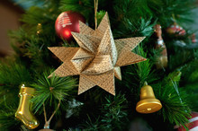 Paper, Christmas, Six-pointed Star On The Branch Of Blue Spruce, Together With New Year's Toys