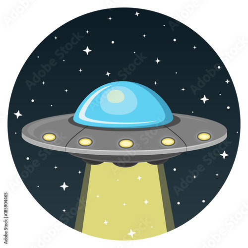 Ufo Flat Design Icon Canvas Print