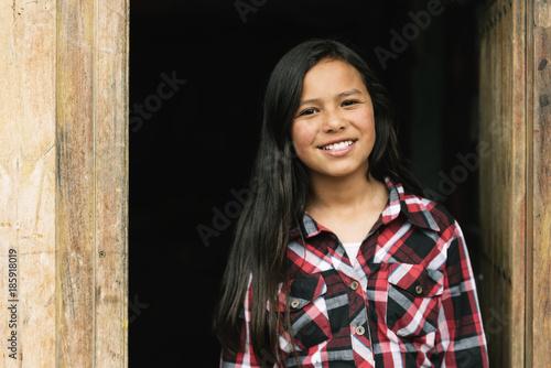 Fotografie, Obraz  Portrait of beautiful girl in shanty town.