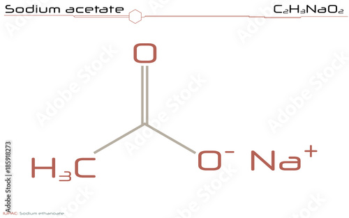 Valokuva Large and detailed infographic of the molecule of Sodium acetate.