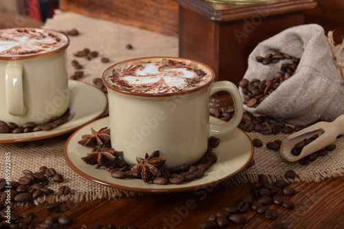 Foto op Plexiglas Chocolade coffee with milk foam and chocolate