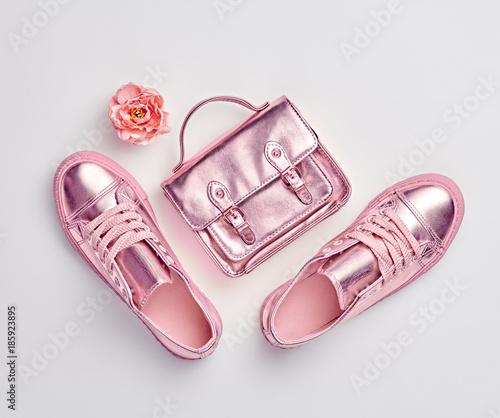 e2a547e0e124 Fashion. Woman Gold Accessories Set. Flat lay. Trendy fashion ...