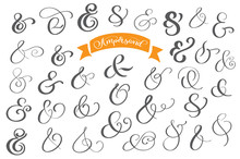 Set Of Decoration Ampersands For Letters And Invitation On White Background. Hand Drawn Type. Vector Illustration. Ampersand Set. Ampersand Image
