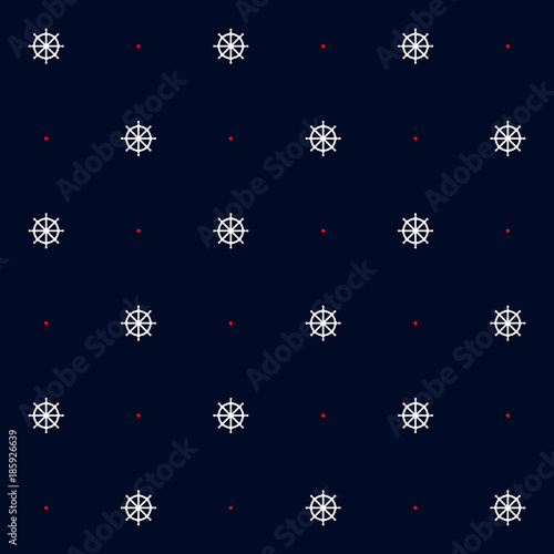 3ffe5f7e4 Cotton fabric Seamless vector pattern with steering wheel and red dots in blue  background. Marine