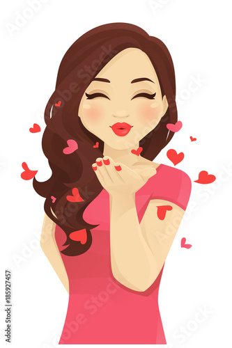 Canvastavla Young women blowing kiss isolated vector illustration