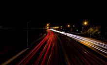 Light Trails On A Motorway At Night, Perth, Western Australia, Australia
