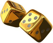 Cube Dices Golden 3d Rendering...