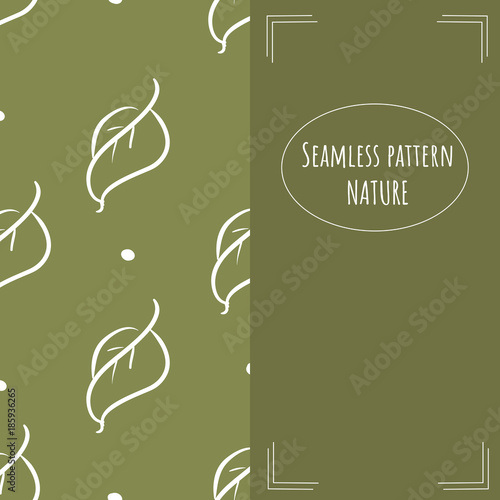 Seamless Pattern In Trend Color With Doodle Leaf Split