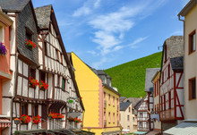 Moselle Valley Germany: View To Market Square And Timbered Houses In The Old Town Of Bernkastel-Kues, Germany Europe