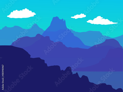 Staande foto Turkoois Vector blue landscape with mountains - for card, background, banner, website, animation, wallpaper - reddy parallax