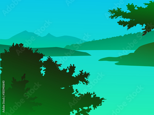 Foto op Canvas Groene koraal Vector green landscape with mountains - for card, background, banner, website, animation