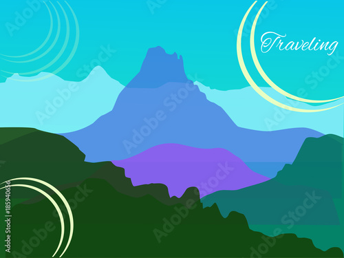 Spoed Foto op Canvas Turkoois Vector landscape with mountains - transparency color overlay - for card, background, banner, website, animation