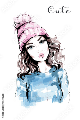 2b2f70a7722c7 Hand drawn beautiful woman portrait. Fashion woman in knitted hat with  pompom. Stylish look