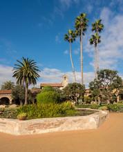 Garden And Fountain In San Juan Capistrano Mission