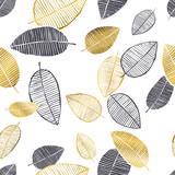 Wektor wzór z ręcznie rysowane złote, czarne, białe liście akwarela i atramentu. Modny design skandynawski - 185941829