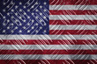 American flag with red white and blue colors over steel diamond metal plate