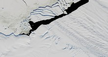 Very High-altitude Overflight Aerial Of The Breakup Of Iceberg B-44 In Pine Island Bay, Antarctica  . Clip Loops And Is Reversible. Elements Of This Image Furnished By USGS/NASA Landsat