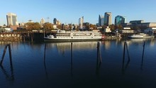 Sacramento River Riverboats Downtown Capital City Skyline Waterfront Refflection