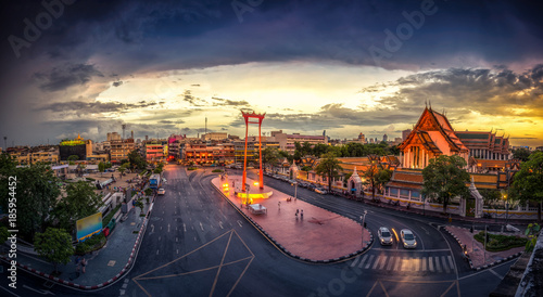 Wat Suthat and Sao Ching Cha (Giant Swing) during sunset (Bangkok, Thailand) Canvas Print