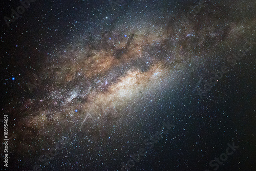 Foto op Aluminium Heelal Close-up of Milky Way, Long exposure photograph with Bright Stars and space dust