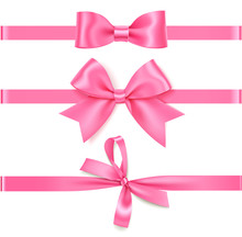 Vector Set Of Decorative Pink Bow With Horizontal Ribbon For Gift Decor.