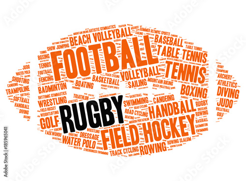 Rugby  Word cloud in the form of rugby ball, white