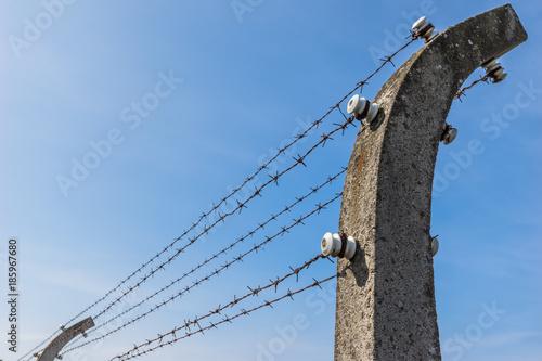 Canvastavla Konzentrationslager KZ / Elektro Stacheldrahtzaun vor blauem Himmel